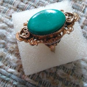 Filigree Ring Green Stone Size 6 or close to it